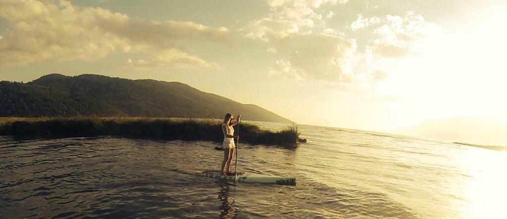 kiteboard sahili sup ve sunset